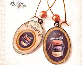 Retro earings • Macarons in Paris • greed bow vintage retro sweet cakes pastries