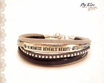 Message • KINDNESS REVEALS BEAUTY • leather suede metal silver Cuff Bracelet