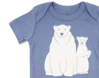 Polar Bear Baby, Organic Baby Clothes Unisex, Polar Bears, White Bears Gift, White Bear, Bear Baby Clothes, Blue Baby Outfit, Unisex Baby