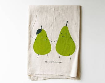 Perfect Pear Flour Sack Tea Towel | Green Pears | Punny | Screen Print | Absorbent Dish Towel | Cloth Towel | Natural Cotton | Housewarming