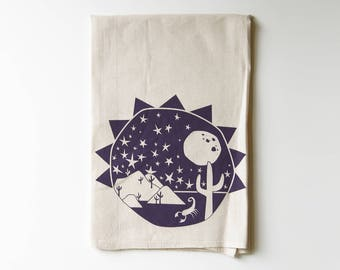 Southwest Explorer Flour Sack Tea Towel | Cactus | Stars | Scorpion | Moon | Sun | Printed | Absorbent Dish Rag | Cotton | Housewarming