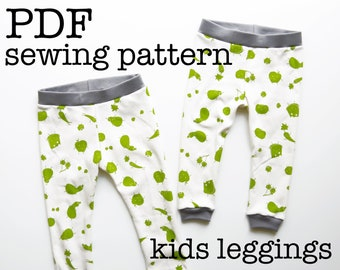 Kids Leggings Sewing Pattern Tutorial | Toddler Pants | For Serger | Knit Fabrics | Stretch Materials | PDF Download | Printable | DIY