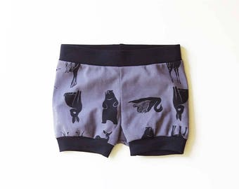 50% OFF | 6-12 months | Organic Cotton Baby Animal Shorties | Screen Printed Shorts | Fair Trade Clothes Babies | Unisex | Gender Neutral
