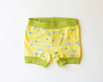 50% OFF Sale | 6-12 months | Arrows | Organic Baby Shorties | Yellow | Screen Printed Baby Clothing | Baby Shorts | Baby Clothes | Unisex