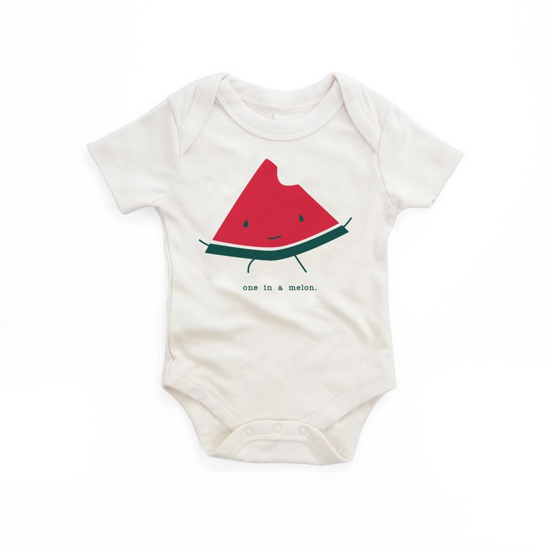 One in a Melon Punny Funny Gift Unisex Babies Hipster Screen Printed Bodysuit Gender Neutral Newborn Gift Organic Baby Clothes