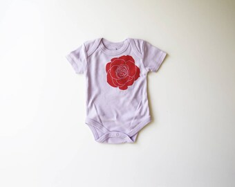 SALE | 50% OFF | 6-12m | Rose | Organic Baby One Piece | Lavender | Red Rose | Screen Printed Baby Bodysuit | Organic Baby Clothes