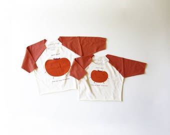 Good Feelings Tomato Organic Kids 3/4 Sleeve Jersey Raglan | Fair Trade | Screen Printed Clothing | Unisex | Gender Neutral | Hipster