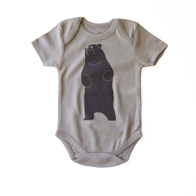 Gender Neutral Organic Cotton Baby Bear Bodysuit Unisex Clothes Hand Printed Clothing Little Brown Bear
