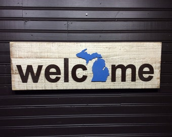 Michigan State with Upper Peninsula welcome plaque, sign CUSTOMIZABLE