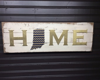 Indiana HOME plaque, sign Notre Dame Fighting Irish colors