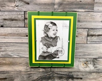 Green And Yellow Picture Frame Holds 5x7 Or Etsy
