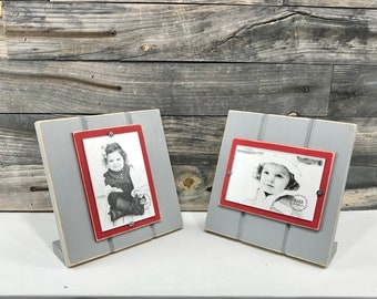 Grey and red picture frame holds 11x14 photo Ohio State University colors