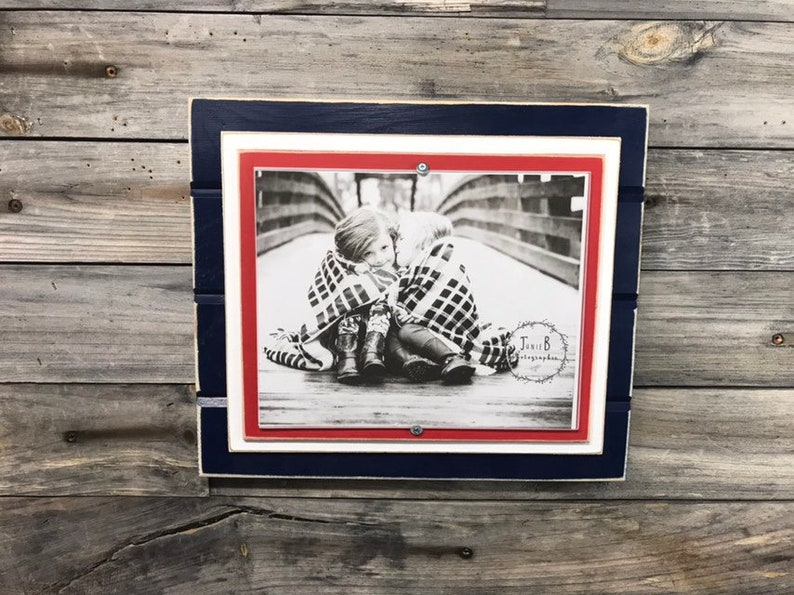 Navy blue red and white picture frame holds 8x10 New England Patriots colors