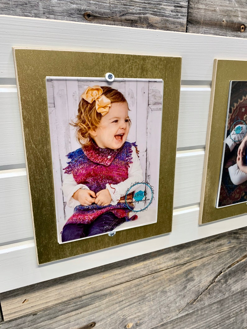 Distressed wood picture frame holds triple 5x7 collage frame metallic mats holds 3 photos
