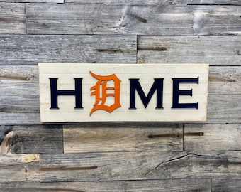 Old English D Detroit Tigers HOME plaque, sign