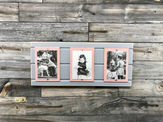 Distressed Wood Collage Picture Frame Triple 4x6 Light Grey Etsy