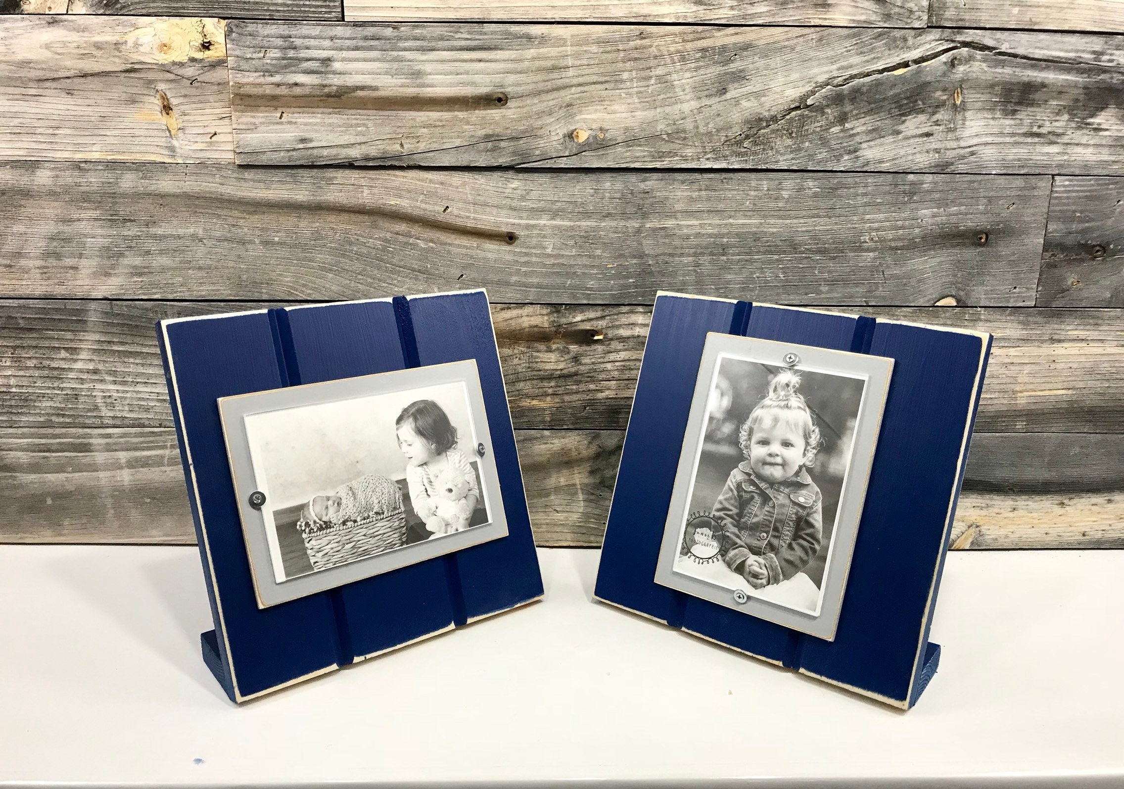 navy blue and grey table top picture frame holds one 4x etsy. Black Bedroom Furniture Sets. Home Design Ideas