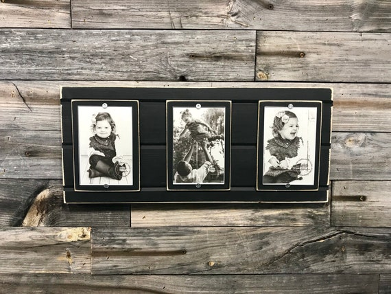 Distressed Wood Collage Picture Frame Triple 4x6 Customizable Etsy