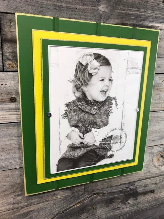 Green And Yellow Picture Frame Holds 8x10 John Deere Colors Etsy