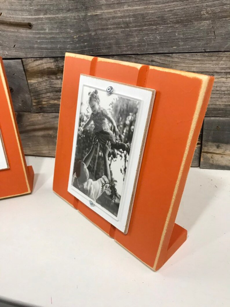 Orange and white table top picture frame holds one 4x 6 photo School colors