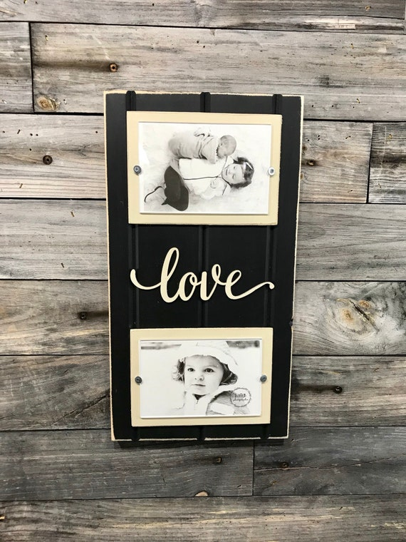 Love Distressed Picture Frame Holds 2 4x6 Photos Black And Etsy