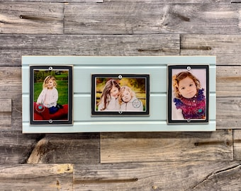 Distressed wood picture frame triple 4x6, holds 3 4x6 photos, collage frame
