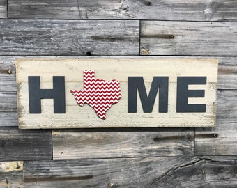 Texas chevron HOME plaque CUSTOMIZABLE