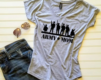 806e2b45 Army Mom or Army Wife shirt Custom Ladies Shirt