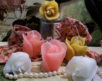 6 Beeswax Rose Bud Candles Choice Of Color