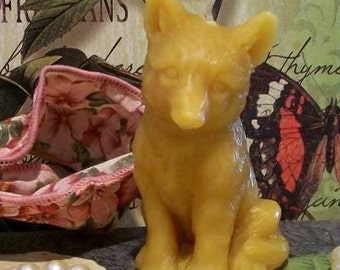 2 Beeswax Fox Wolf Puppy Dog Candles