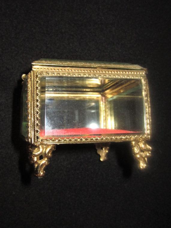 Vintage Gold Ormolu Filigree Jewelry Casket Box