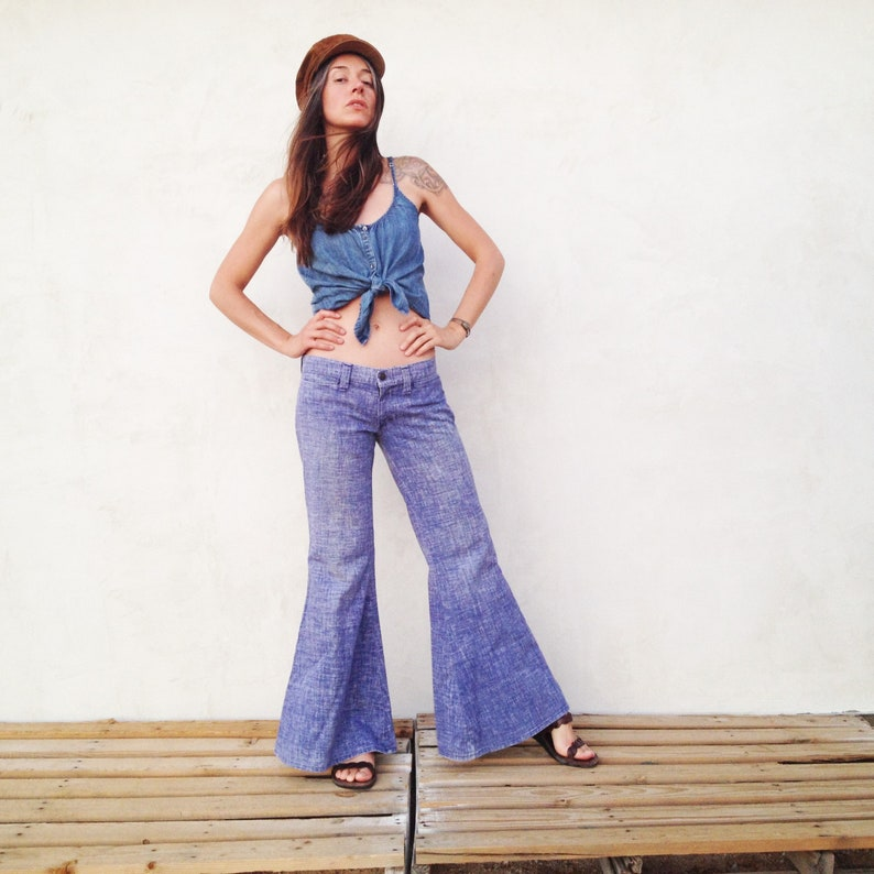 6b86c44e0d46 Vintage 70 s Mega Bell Bottom Jeans   Low Rise Denim His