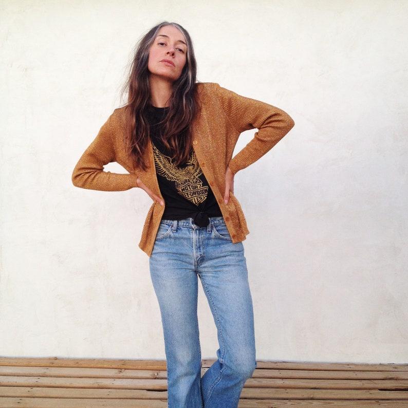 5066ce6fed3013 Vintage 60 s Gold Metallic Knit Cardigan Sweater   Women S