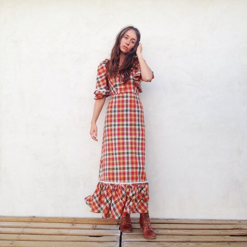 4f5a4fd3af Vintage 70 s Plaid Autumn Maxi Dress   Bell Sleeve Prairie