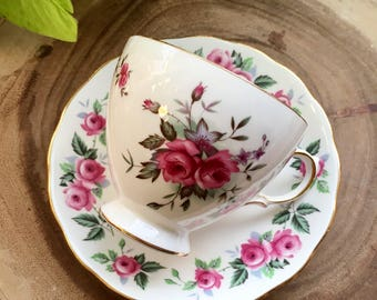Queen Anne Roses Tea Cup & Saucer / Vintage China
