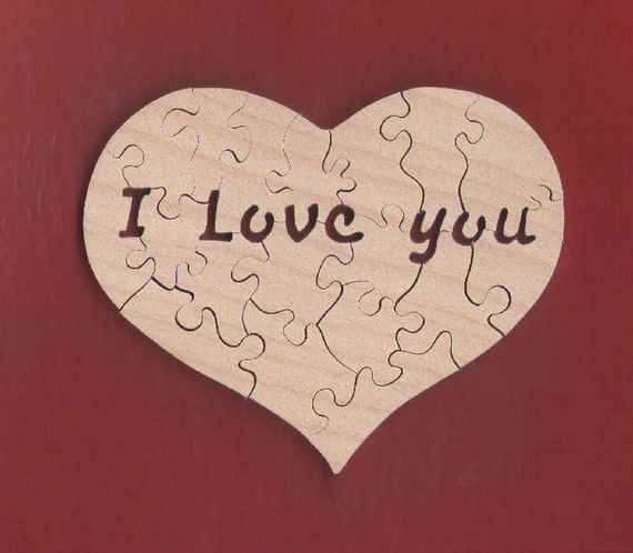 """Puzzle de coeur avec le Secret «je t'aime» Message (16-20 pièces) MINI taille 3,75"""" pour la Saint Valentin, les anniversaires etc."""