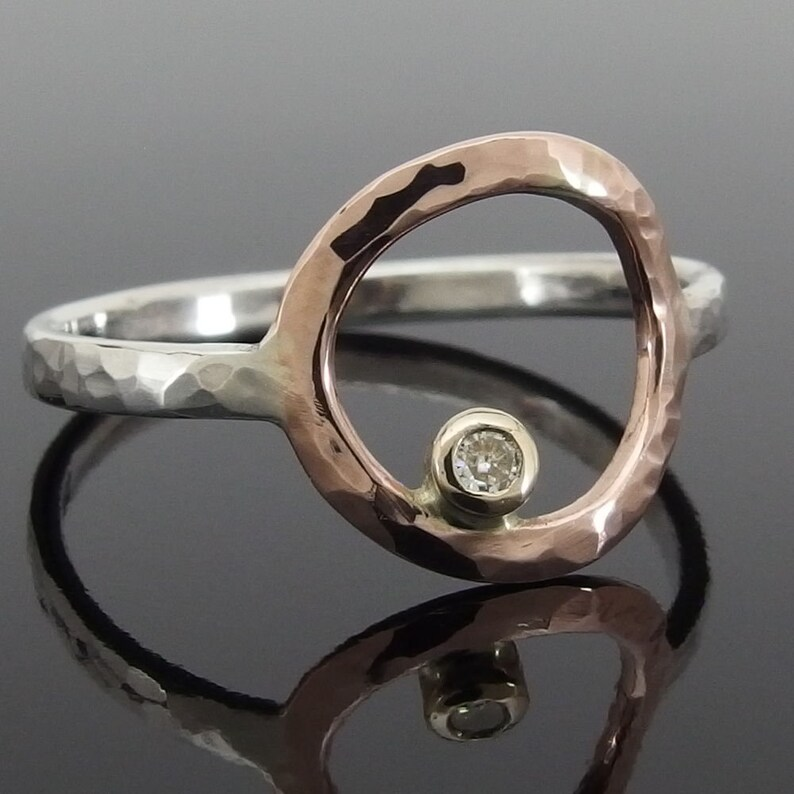 14k Rose Gold and Sterling Silver Halo Ring Moissanite Mixed Metal Ring Promise Ring Gold and Silver Circle Ring