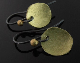 18k Green Gold Petal Earrings, Mixed Metal Earrings, Green Gold Earrings, Everyday Earrings