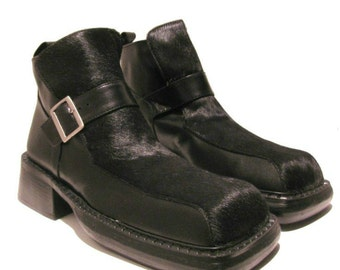 840806bcc013 Vintage Mens Luichiny Boots Mens Black Hair On Leather Square Toe Buckle  Shoes Mns US size 8