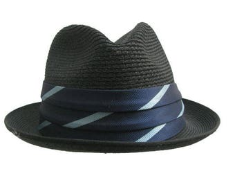 bb42f7c718d Vintage Mens Straw Hat 1960s Resistol Black Summer Straw Fedora Lounge Hat  Size 6 7 8 Fits Mns Size Small
