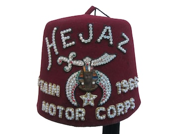 7de3d56da54 Vintage Shriners Fez Hat Hejaz Captain 1966-67-68 Motor Corps Fraternal  Masonic Red Fez with Tassel