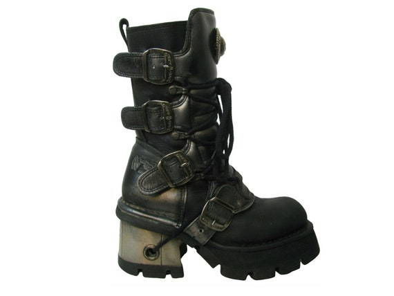 New Rock Cybergoth Platform Boots Women's Black an