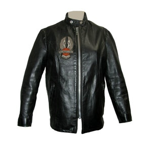 Schott Cafe Racer Motorcycle Jacket Vintage Womens Tan Leather Euro Style Biker Jacket with 20 Years of AMA Pins Around Collar Wms Size 10