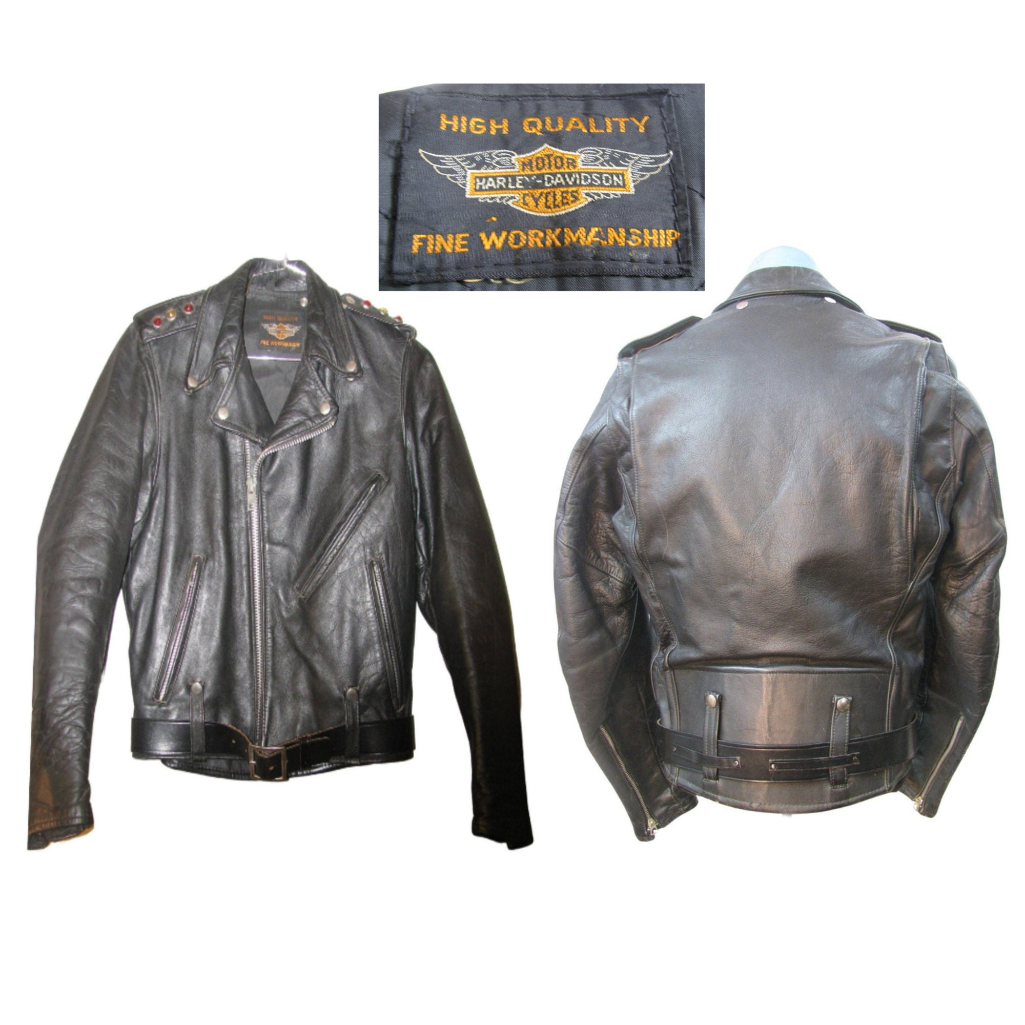 1950s Mens Hats | 50s Vintage Men's Hats Rare 1950S Harley-Davidson Horsehide Motorcycle Jacket With High Quality Fine Workmanship Black Label Has Jewel Studded Epaulets Size Small $675.00 AT vintagedancer.com