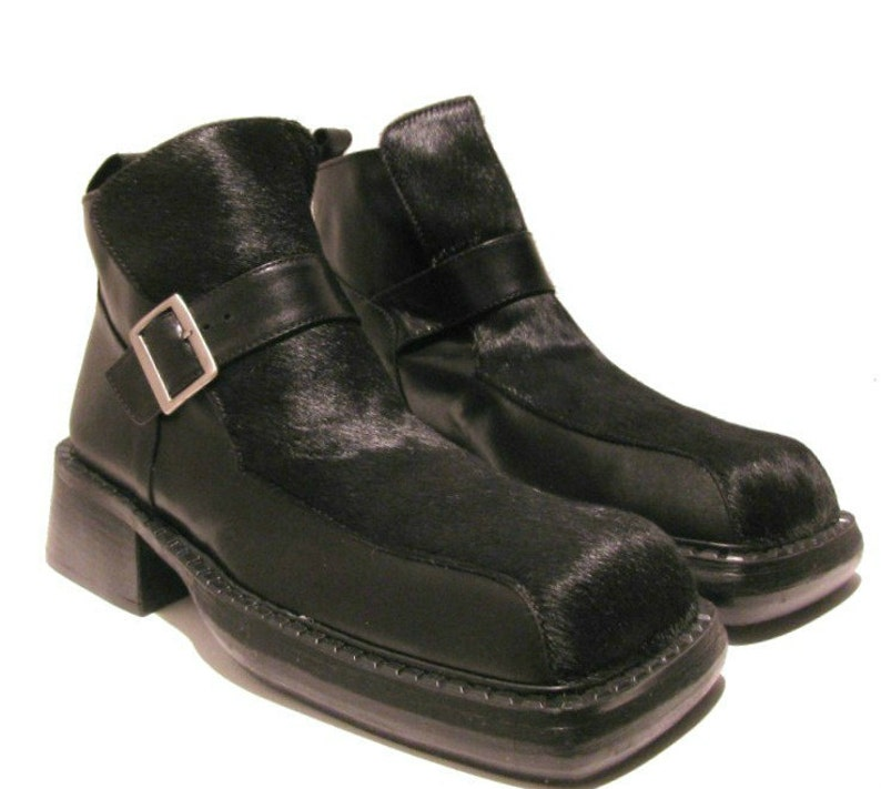 e27af2cd674 Vintage Mens Luichiny Boots Mens Black Hair On Leather Square Toe Buckle  Shoes Mns US size 8