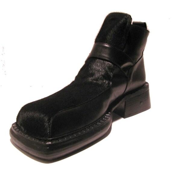 Vintage Mens Luichiny bottes pour homme noir cheveux sur cuir Square Toe boucle chaussures Mns nous taille 8