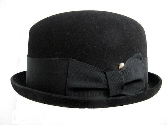 Vintage Mans Hat Black Stingy Brim Fedora Hat size 6 7 8 Small  08b678e533d