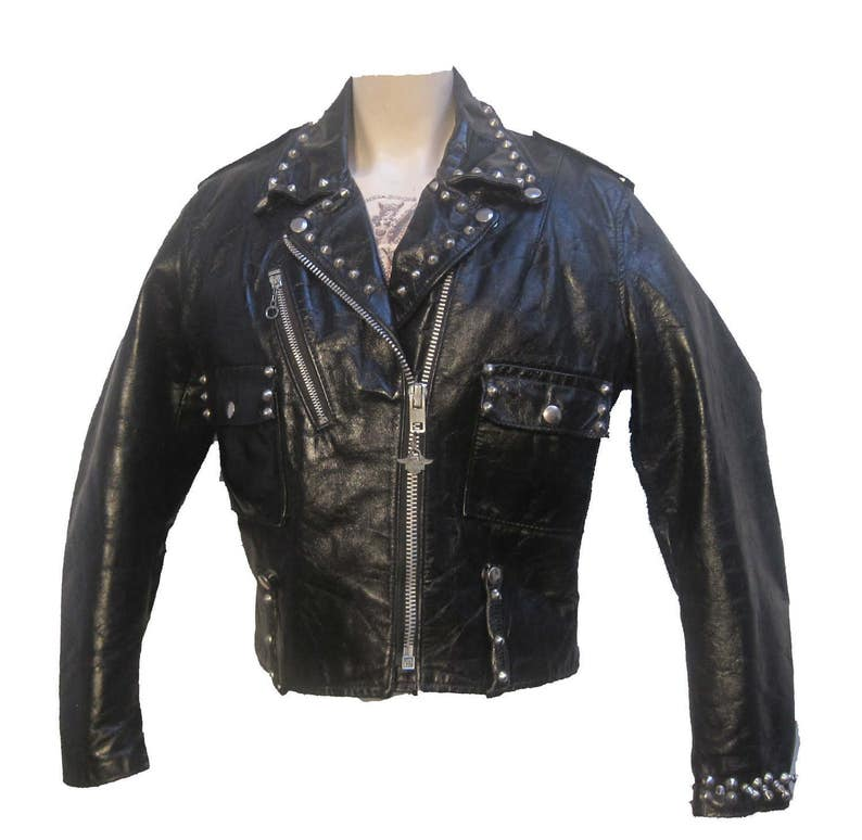 b0329f0e8 Studded Cycle Queen Biker Jacket Vintage Womens Motorcycle Riders Jacket  1970s AMF Harley Davidson Black Leather Jkt Wmns US SIze 38