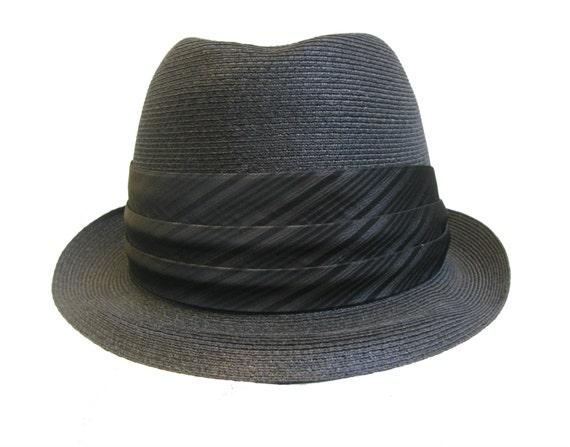 Vintage 1960s Mens Dobbs Straw Stingy Brim Fedora Hat Mns Size  572ae180ac7