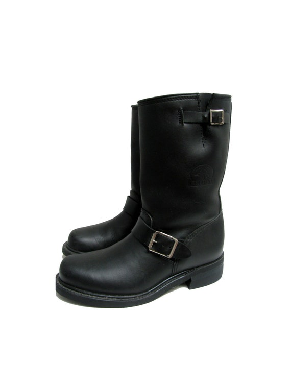 énorme réduction d15fd 37b58 Carolina Motorcycle Boots Vintage Mens Black Leather Engineer Biker Boots  Made In The USA Mns US Size 7 1/2